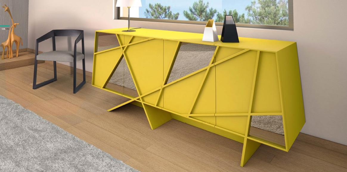 Espectacular aparador con costados y frentes haciendo ángulos. Se puede combinar con lacas, madera natural o frentes de cristal de diferentes colores.