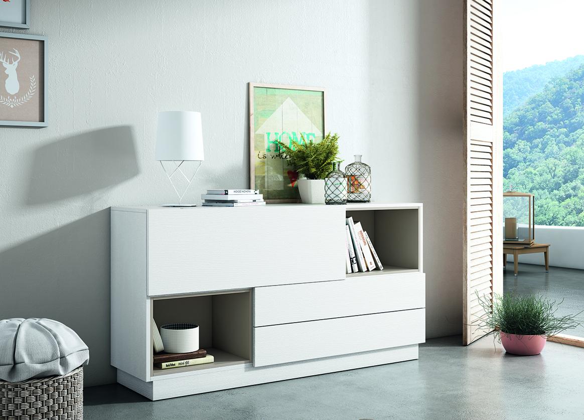 Aparador con capacidad y detalles para decoración, disponible en varios acabados