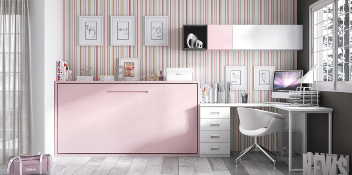 Cama abatible sencilla con escritorio completo, gran variedad de colores