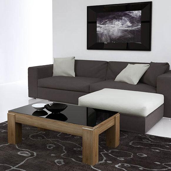 Mesa centro en chapa natural con bonito grosor en las patas, disponible con y sin cristal