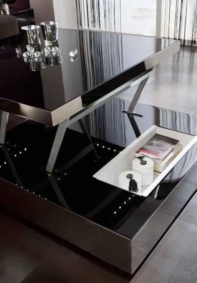 Mesa centro con luces incorporadas y sistema de elevación, disponible en diferentes acabados