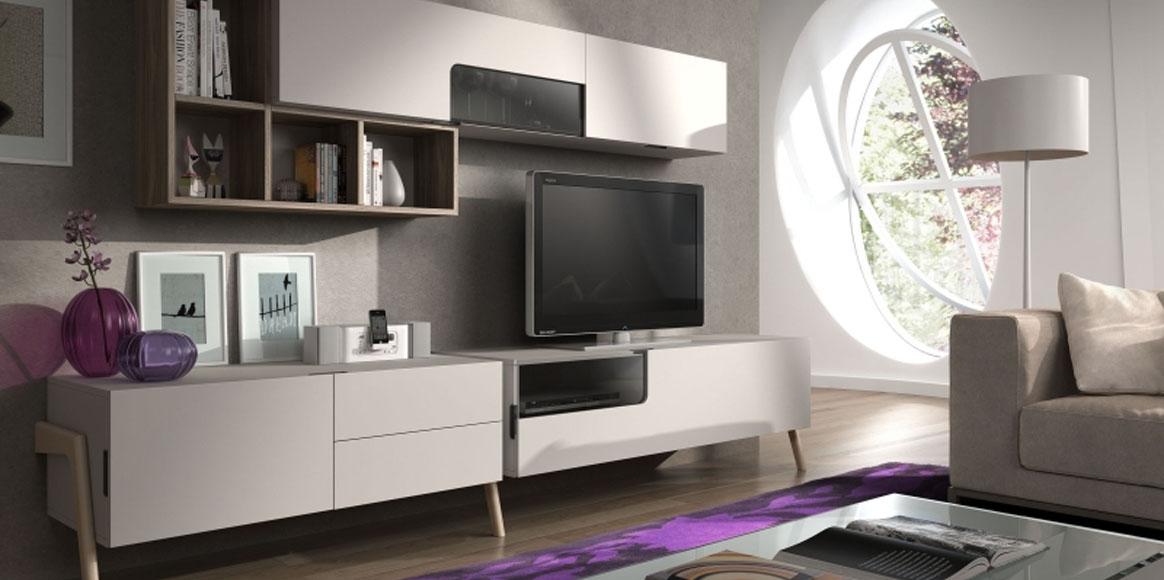 Mueble modular con posibilidad de elegir varios acabados en chapas naturales y lacados. Opción de darle un estilo diferente según la elección de varios juegos de patas en madera o metal.