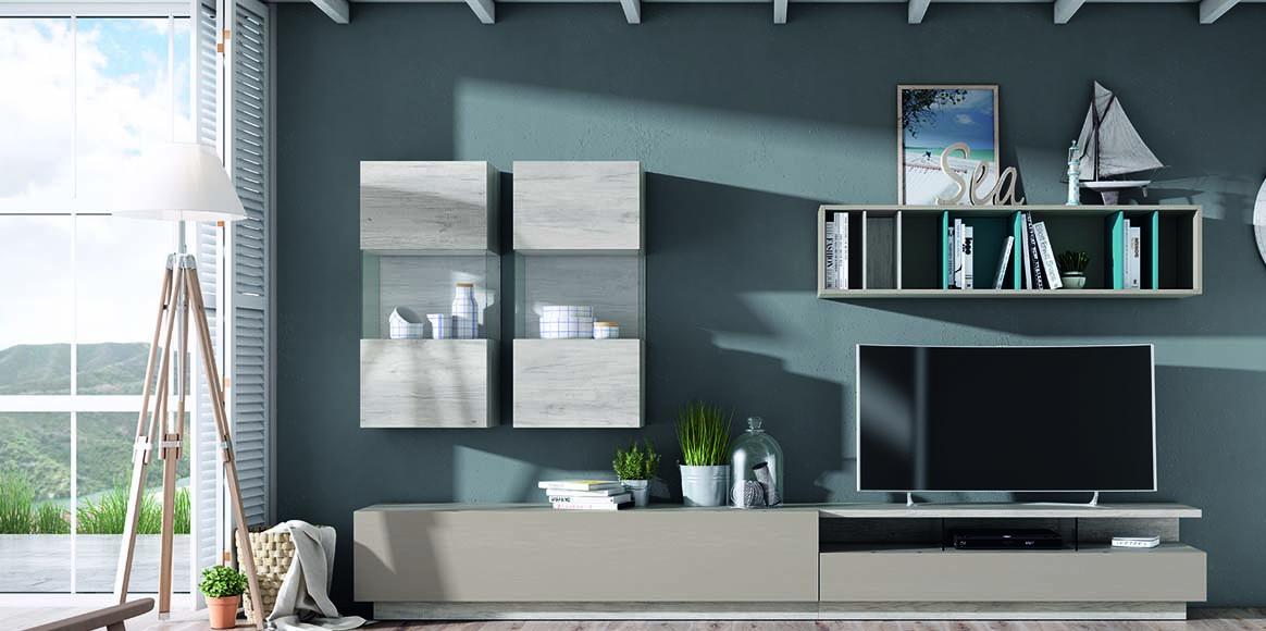 Mueble modular con gran capacidad para almacenar con bonitas vitrinas. Posibilidad de iluminarlas y con variedad en acabados