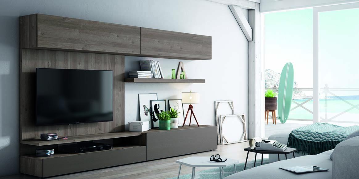 Sistema con posibilidad de panel para televisión, se adapta a tus medidas por su gran modularidad