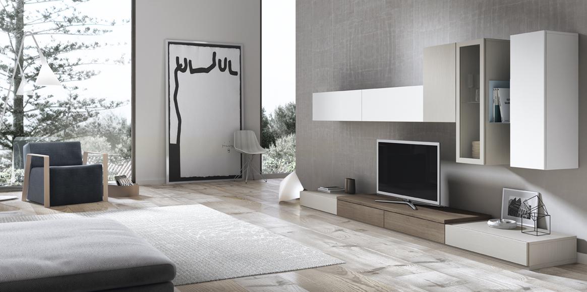 Mueble modular con un aire vintage que proporciona un aspecto distinto a tu salón