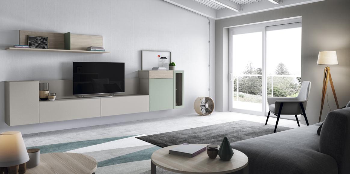 Mueble modular con posibilidad de suspenderse en la pared