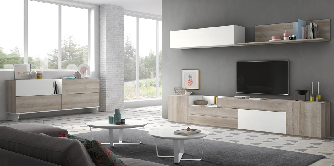 Mueble modular con diferentes alturas y módulos para ajustarlo a tu medida