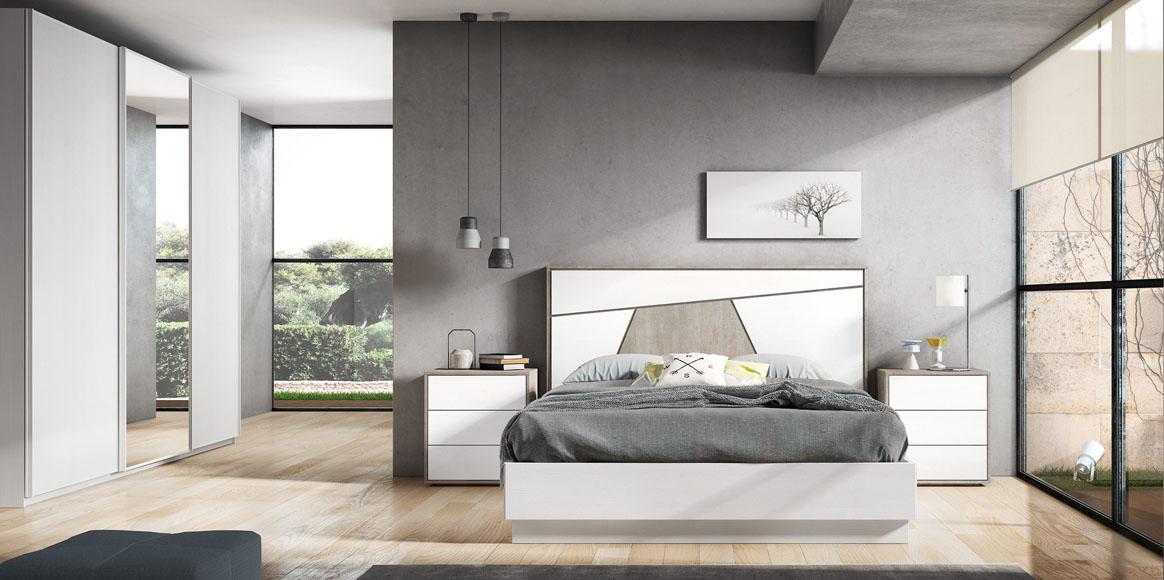 Dormitorio con bonito cabezal que se adapta a cualquier medida. Posibilidad diferentes acabados