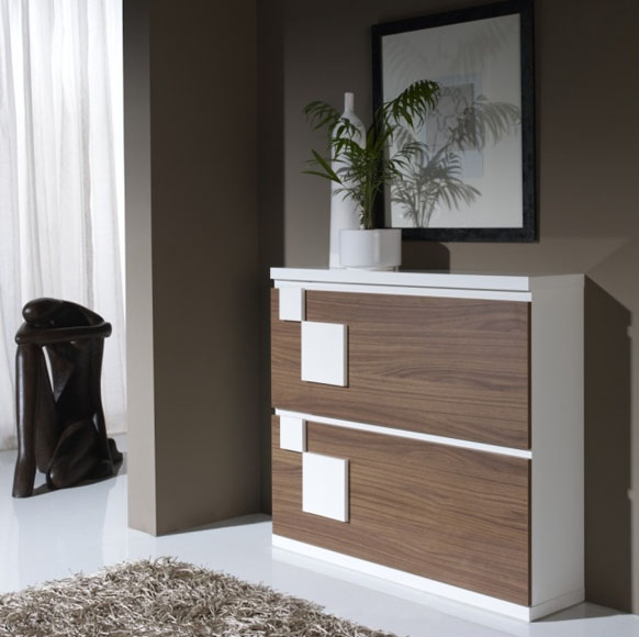 Este zapatero tiene una altura que permite hacer la función de consola pudiendo dejar objetos de decoración y personales.